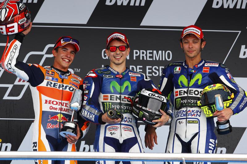Podium: 2. Marc Marquez, 1. Jorge Lorenzo, und 3. Valentino Rossi