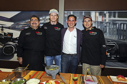 (From left to right): Chef Rubén Boldo Villegas, Nico Hulkenberg and Sergio Pérez from Sahara Force India F1 and Rodrigo Sanchez Subdirector of Marketing for the Mexican GP, cooking Mexican food in their team's motor home.