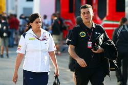 (L to R): Monisha Kaltenborn, Sauber Team Principal with Federico Gastaldi, Lotus F1 Team Deputy Team Principal