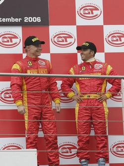 GT2 podium: third place Mika Salo and Rui Aguas