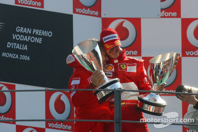 Podium: Michael Schumacher and Jean Todt