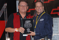 Jay Burchell receives Honorary Starter plaque from Richmond International Raceway president Doug Fritz