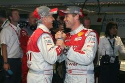 Pole winner Rinaldo Capello celebrates with Tom Kristensen