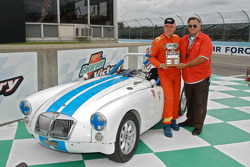 David Smith and trophy with his 1962 MGA MkII