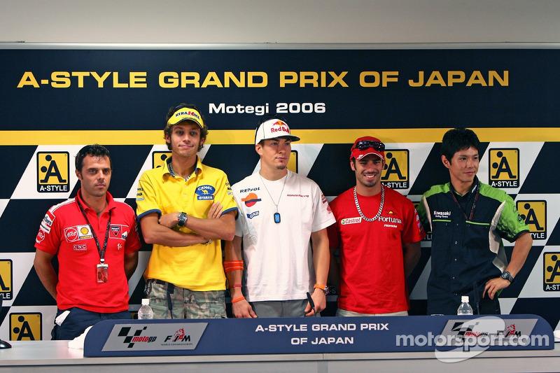 Conferencia de prensa: Loris Capirossi; Valentino Rossi; Nicky Hayden; Marco Melandri y Shinya Nakano