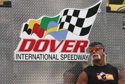 Grand Marshall Hulk Hogan, stands on stage