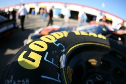 Close up of a Good Year racing tire