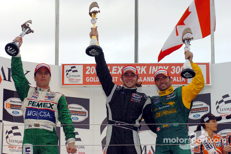 Podium : Le vainqueur Nelson Philippe avec Mario Dominguez et Alex Tagliani