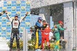Podium: champagne for Felipe Massa, Fernando Alonso and Jenson Button