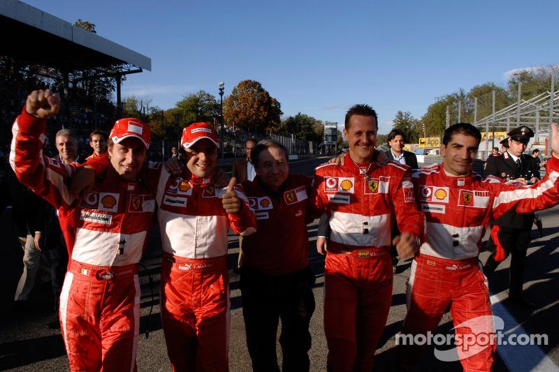 Luca Badoer, Felipe Massa, Jean Todt, Michael Schumacher et Marc Gene