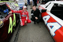 Terry Labonte poses with his son Justin next to a replica of Terry's first race car and son Justin
