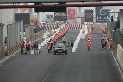 The grid awaits the cars