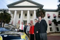 Florida Governor Jeb Bush, Rusty Wallace, Kasey Kahne, ISC President Lesa France Kennedy, NASCAR Vice President of Racing Operations Steve O'Donnell and Daytona International Speedway President Robin Braig pose for a photo at the Florida state capitol dur