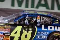 2006 NASCAR Nextel Cup champion Jimmie Johnson celebrates