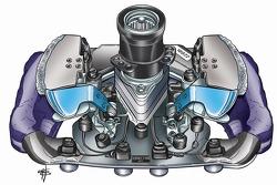 Technical illustration of the steering wheel for Alex Zanardi