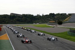 The cars on the grid at the start of the race