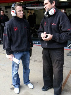 Christian Klien and Jacky Eeckelaert, engineer, Honda Racing F1 Team