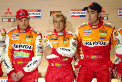 Team Repsol presentation in Barcelona: Jean-Paul Cottret, Gilles Picard and Nani Roma