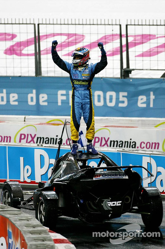 Nations Cup winner Heikki Kovalainen celebrates