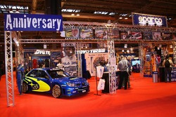 Sparco Stand with Subaru World Rally car