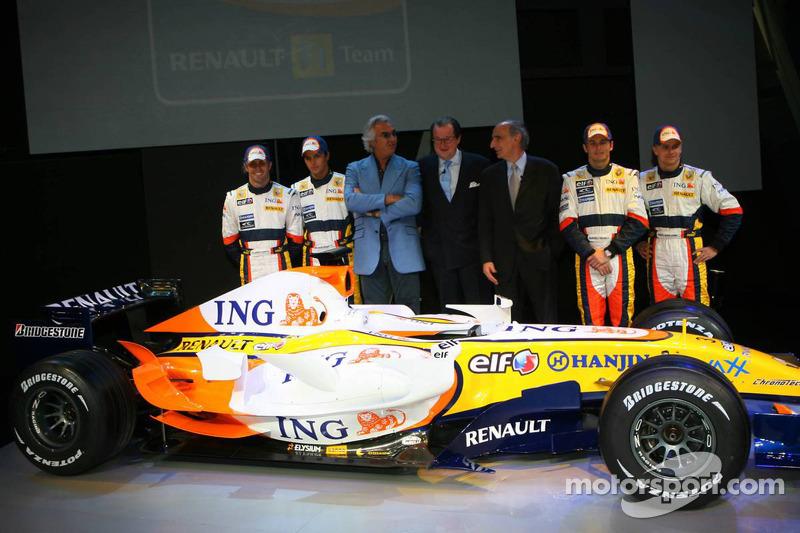 Ricardo Zonta, Nelson A. Piquet, Flavio Briatore, Michel Tilmant, Chairman of the Executive Board of ING, Alain Dassas, President Renault F1 Team, Giancarlo Fisichella and Heikki Kovalainen