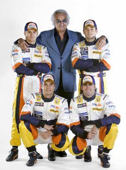 Heikki Kovalainen, Nelson A. Piquet, Riccardo Zonta and Giancarlo Fisichella with Flavio Briatore