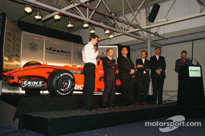 James Key, Spyker F1 Team, Technical Director, Mike Gascoyne, Spyker F1 Team, Chief Technology Officer, Colin Kolles, Spyker F1 Team, Team Principal, Michiel Mol, Director of Formula One Racing, Spyker and Spyker F1 Team and Victor Muller, Chief Executive