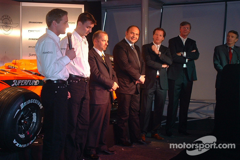 Christijan Albers, James Key, Spyker F1 Team, Technical Director, Mike Gascoyne, Spyker F1 Team, Chief Technology Officer, Colin Kolles, Spyker F1 Team, Team Principal and Michiel Mol, Director of Formula One Racing, Spyker and Victor Muller, Chief Execut