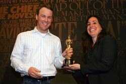 Kevin Harvick and Gillian Zucker, President of California Speedway, make a media appearance at Hollywood and Highland