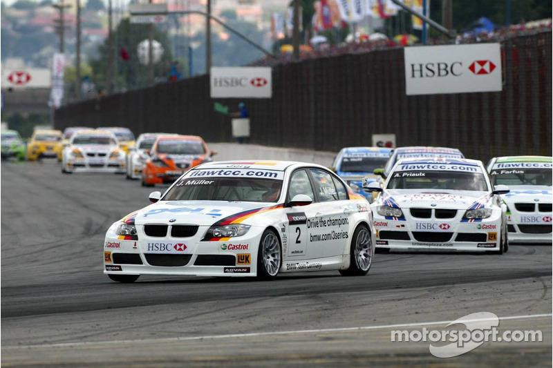 Jorg Muller, BMW Team Germany, BMW 320si WTCC et Andy Priaulx, BMW Team UK, BMW 320si WTCC