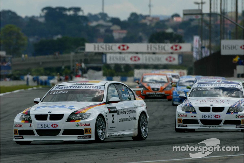 Jorg Muller, BMW Team Germany, BMW 320si WTCC et Andy Priaulx, BMW Team UK, BMW 320si WTCC
