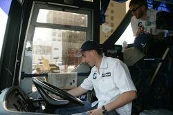 Malacca, Malaysia, Robert Kubica drives the shuttle-bus