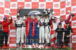 GT2 podium: class winners Toni Vilander and Dirk Muller, second place Paolo Ruberti and Damien Pasini, third place Matteo Cressoni and Michele Rugolo