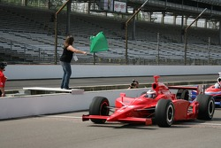 First female driver to win the Purdue Grand Prix, Liz Lehmann waves the green flag as honorary starter for practice