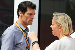 Mark Webber, Porsche Team WEC Driver with Sabine Kehm, Manager of Michael Schumacher