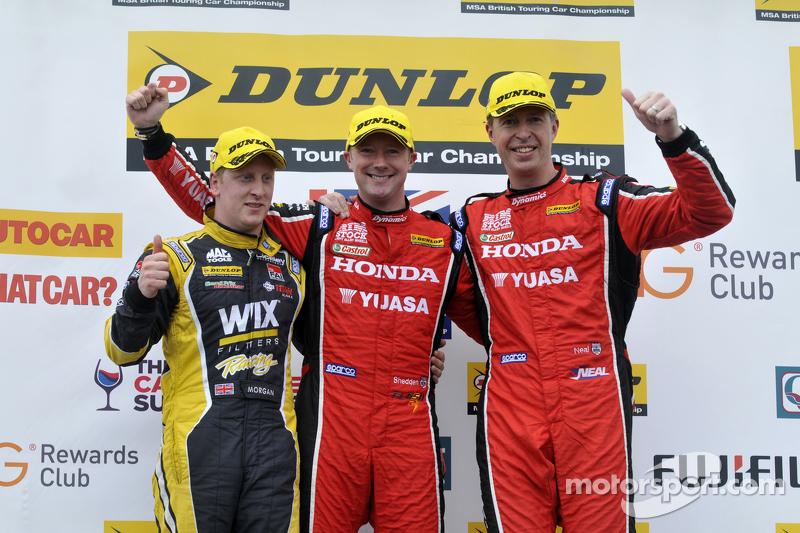 Podium: race winner Gordon Shedden, second place Matt Neal, third place Adam Morgan