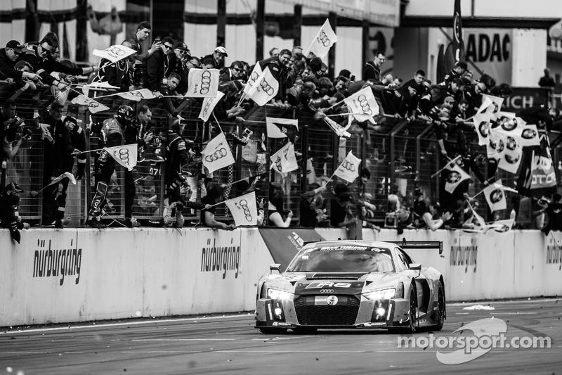 Race winner #28 Audi Sport Team WRT Audi R8 LMS: Christopher Mies, Edward Sandström, Nico Müller, La