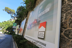 Marlboro advertising hoardings featuring Ferrari images