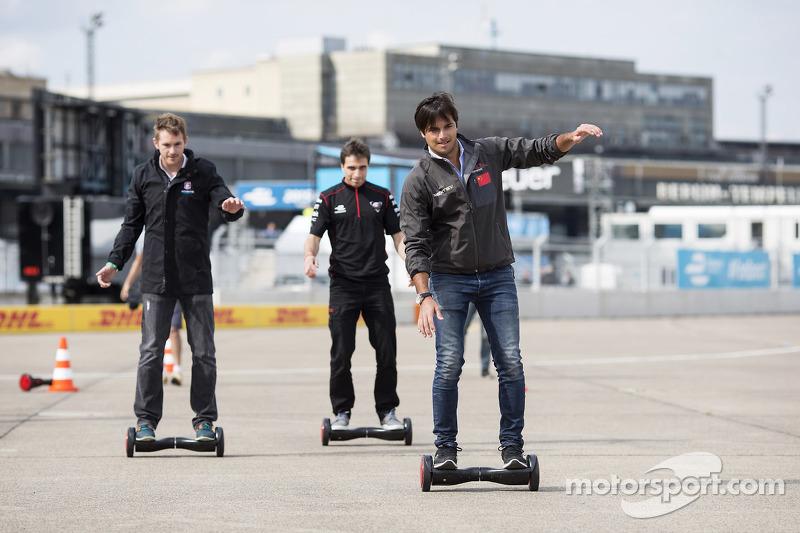 Nelson Piquet jr., China Racing; Scott Speed, Andretti Autosport, und Jérôme d'Ambrosio, Dragon Raci