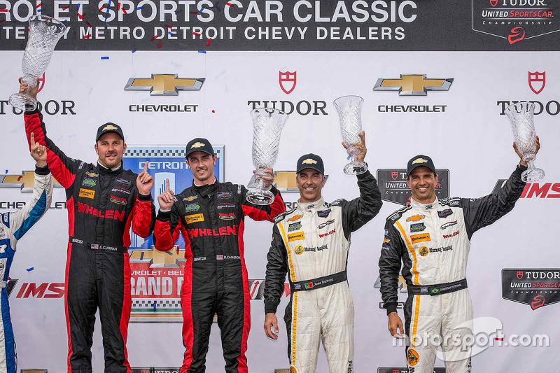 Podium: Race winner #31 Action Express Racing Corvette DP: Eric Curran, Dane Cameron and third place