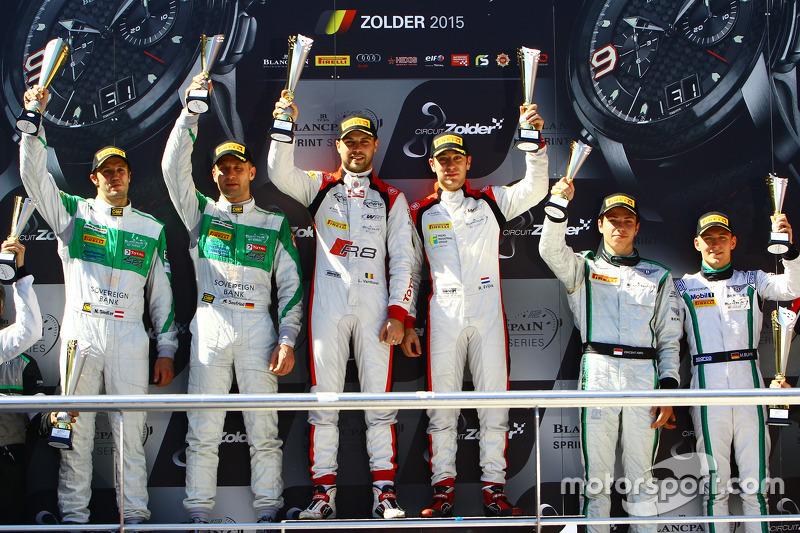 Podium: race winners Robin Frijns, Laurens Vanthoor, second place Marco Seefried, Norbert Siedler, t