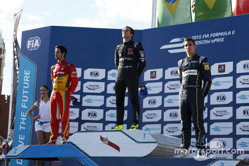 Podium: second place Lucasi di Grassi, Audi Sport Team Abt and winner Nelson Piquet Jr., China Racing and third place Sébastien Buemi, e.dams-Renault Formula E Team