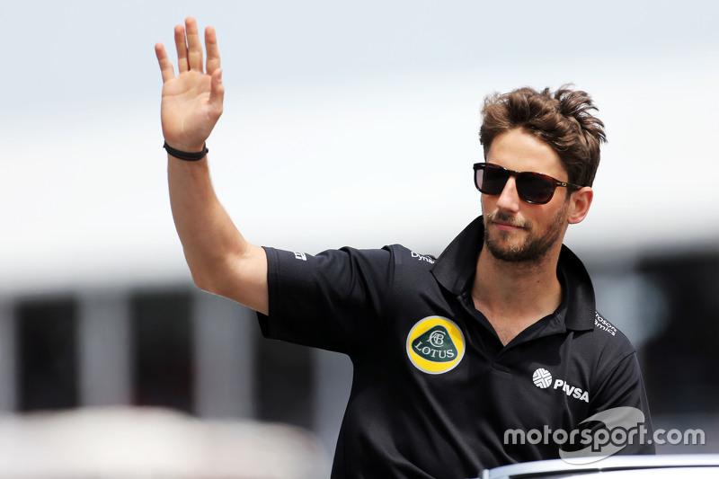 Romain Grosjean, Lotus F1 Team on the drivers parade