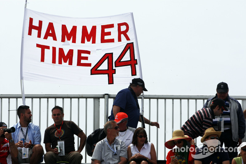 Hammer Time banner from fans of Lewis Hamilton, Mercedes AMG F1