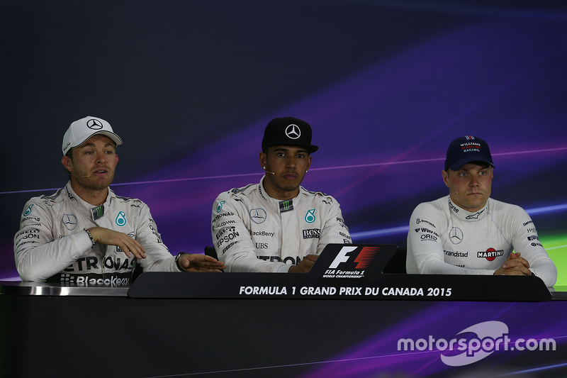 Race winner Lewis Hamilton, Mercedes, second place Nico Rosberg, Mercedes and third place Valtteri B