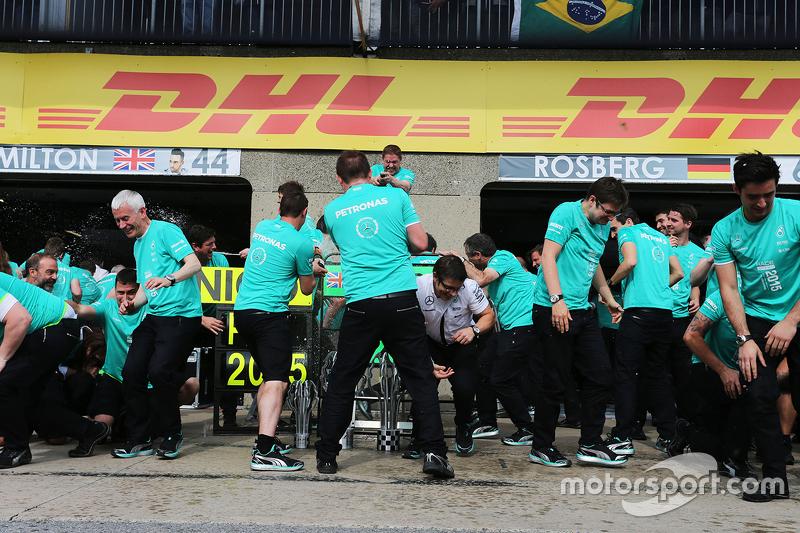 The Mercedes AMG F1 celebrate a 1-2 finish