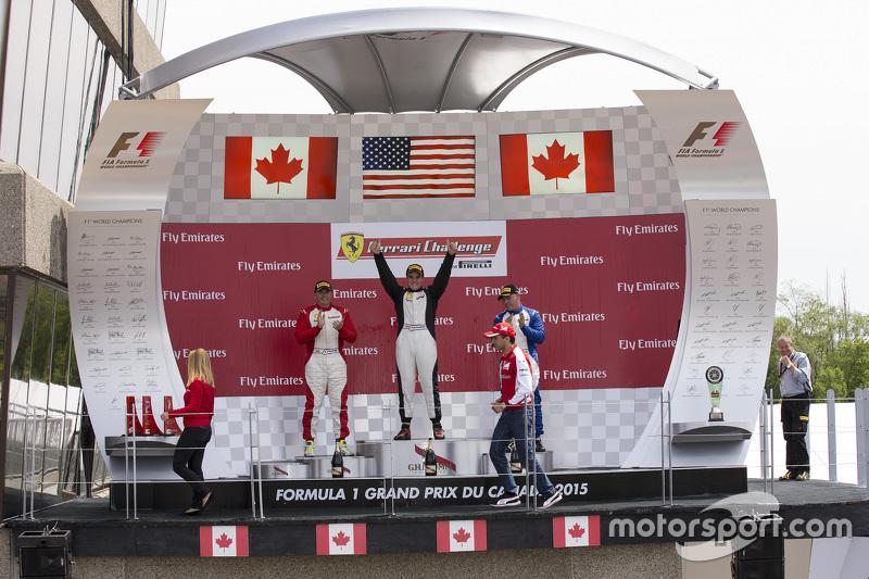 458TP-Podium: Rennsieger #38 The Collection, Ferrari 458: Gregory Romanelli, 2. #77 Ferrari Quebec, Ferrari 458: Emmanuel Anassis, und 3. #59 Ferrari of Fort Lauderdale, Ferrari 458: John Farano