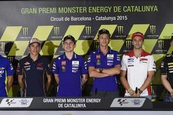 Maverick Viñales, Team Suzuki MotoGP; Marc Marquez, Repsol Honda Team; Jorge Lorenzo und Valentino Rossi, Yamaha Factory Racing; Andrea Iannone, Ducati Team, und Pol Espargaro, Tech 3, Yamaha
