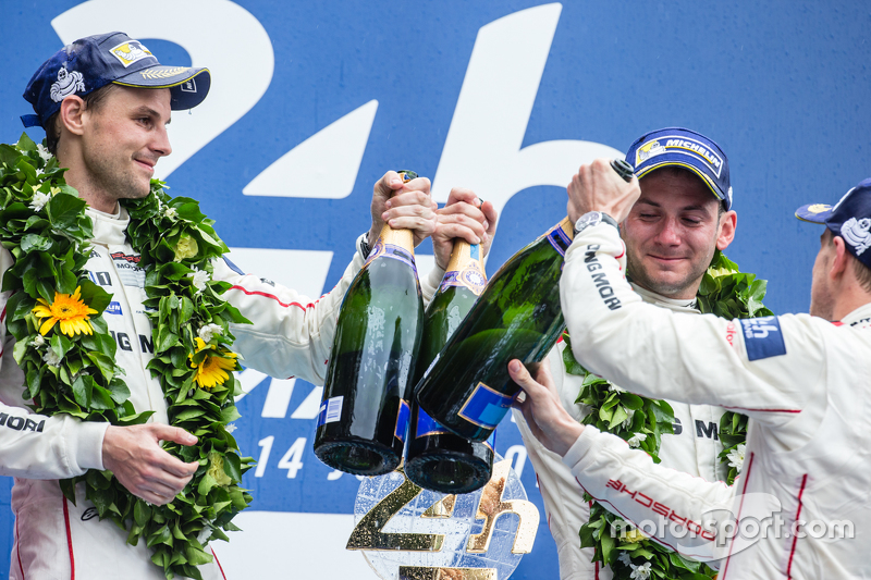 LMP1 podium: class and overall winners Porsche Team: Nico Hulkenberg, Nick Tandy, Earl Bamber