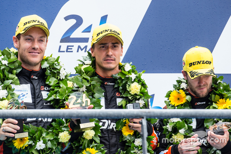 LMP2 podium: third place #26 G-Drive Racing Ligier JS P2: Roman Rusinov, Julien Canal, Sam Bird